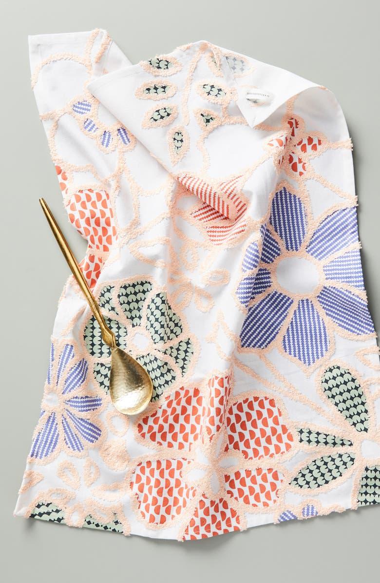 ANTHROPOLOGIE Lamia Floral Tufted Dishtowel, Main, color, PINK