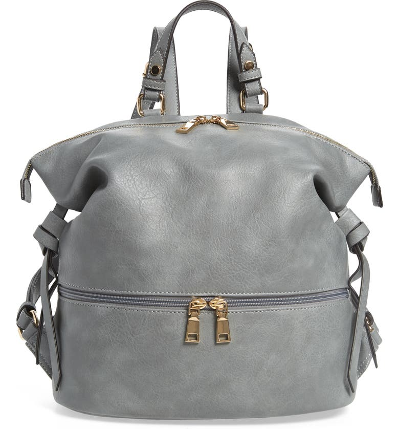SOLE SOCIETY Cyndi Faux Leather Backpack, Main, color, LIGHT GREY