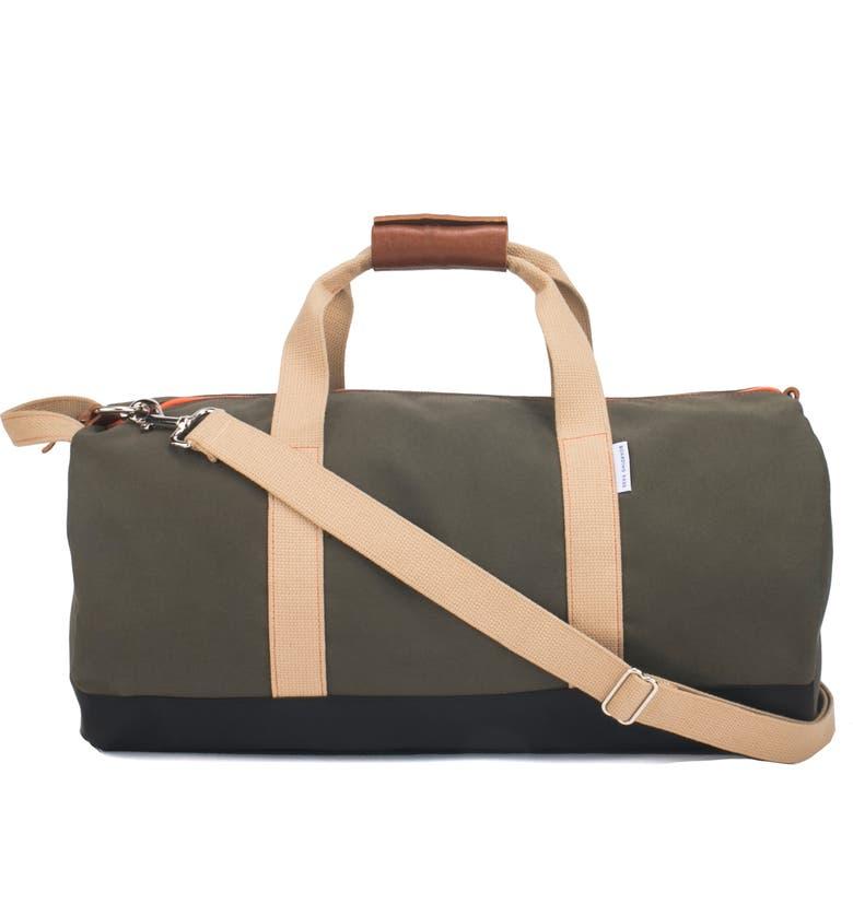 BOARDING PASS Work Hard Play Hard Duffle Bag, Main, color, ARMY GREEN