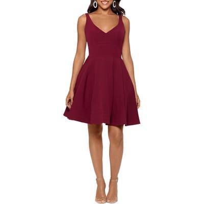 Xscape V-Neck Fit & Flare Dress, Burgundy