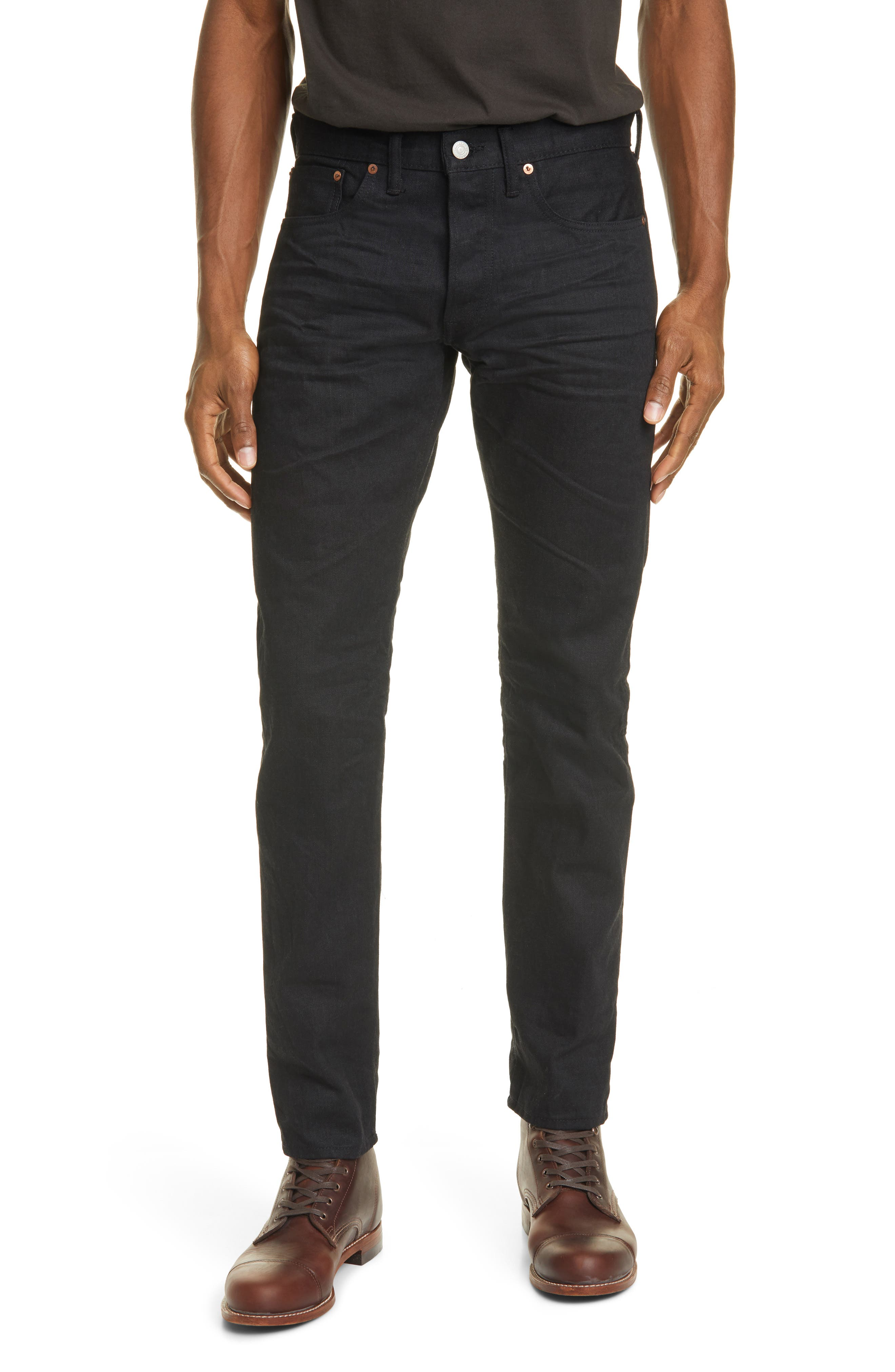 Men's Rrl Slim Fit Selvedge Jeans,  33 x 32 - Black