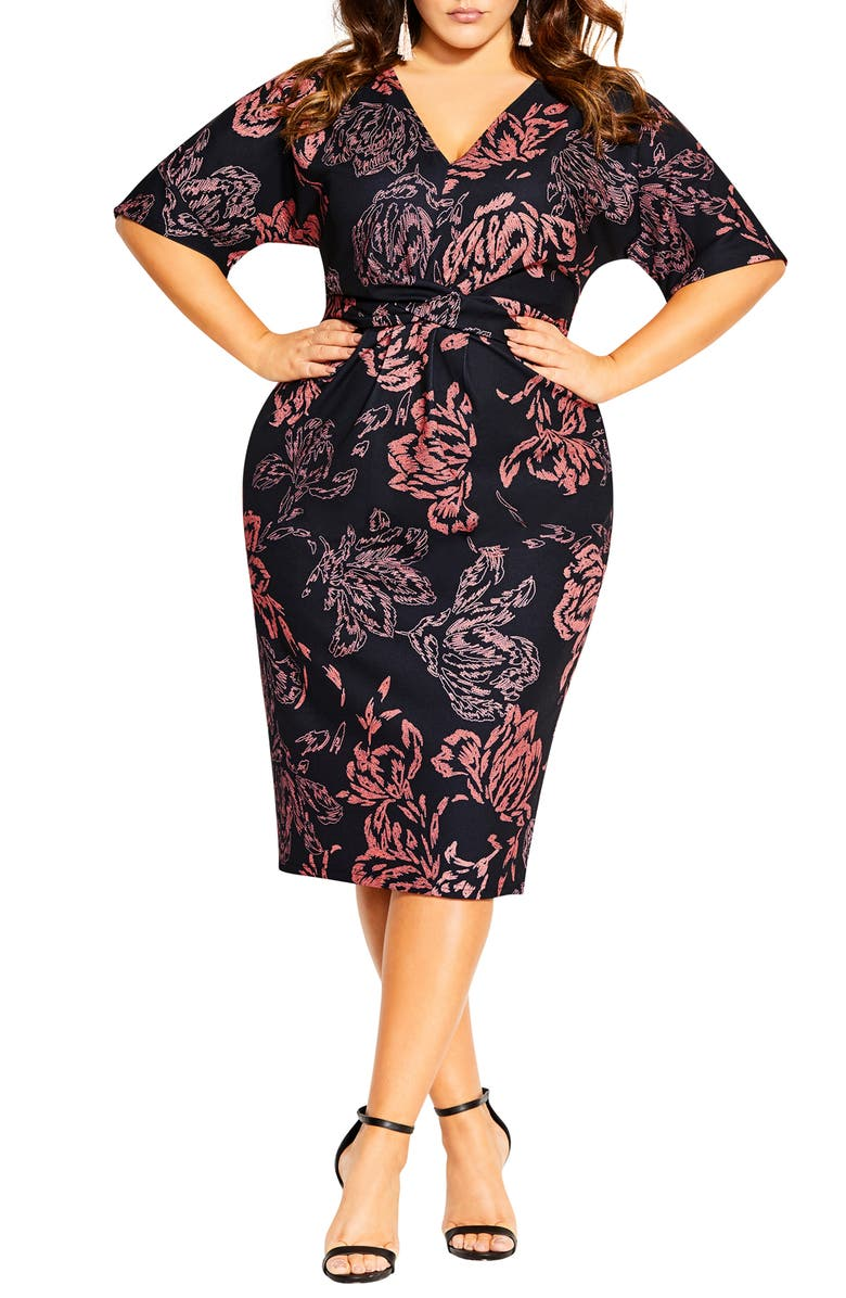 CITY CHIC Etched Bloom Dress, Main, color, ETCHED BLOOM