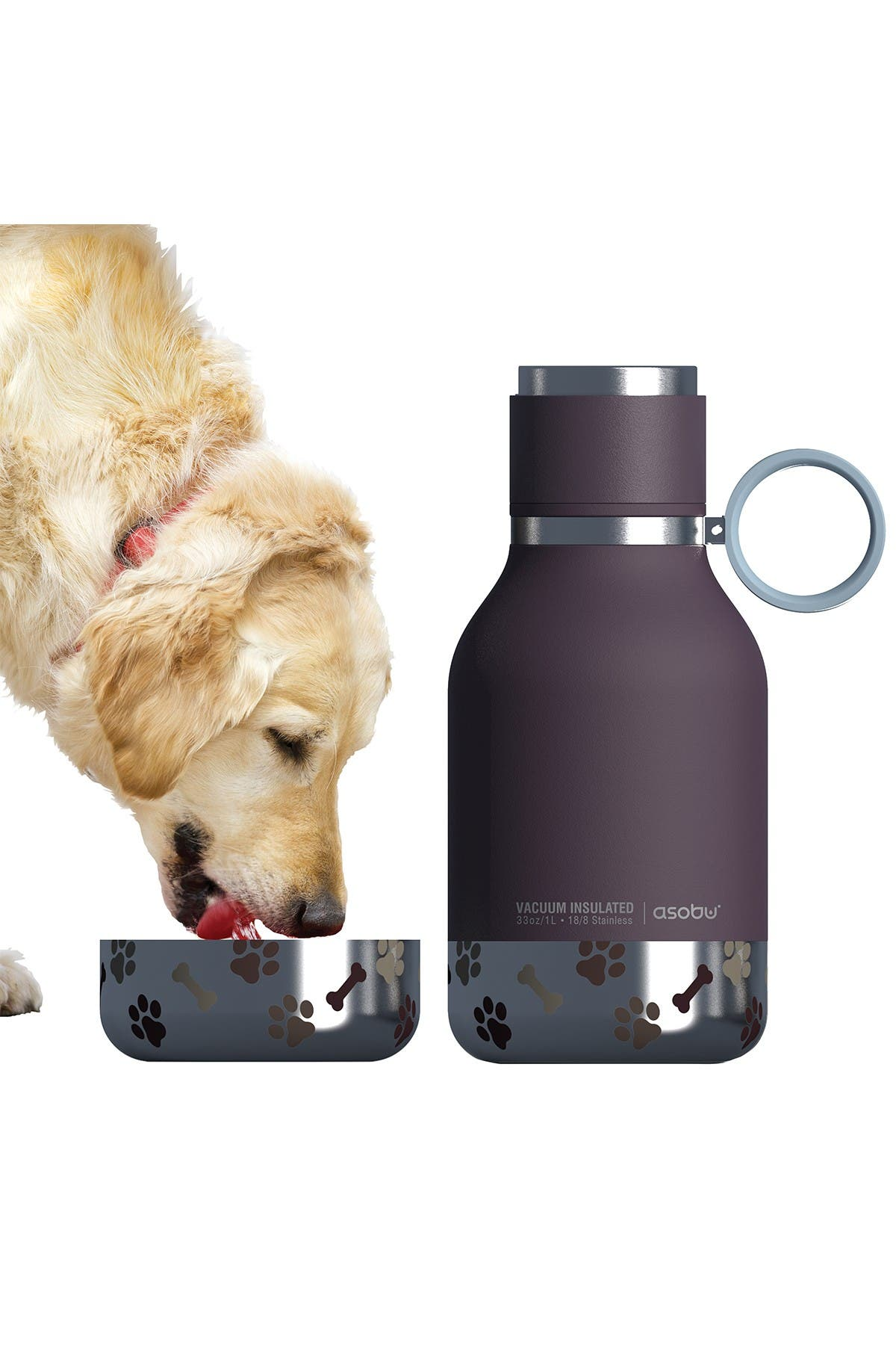 Image of ASOBU Insulated Bottle with Detachable Bowl - Burgundy
