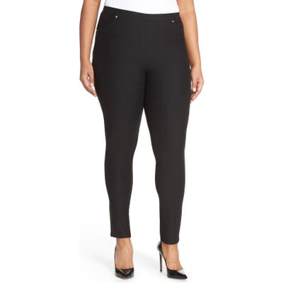 Plus Size Michael Michael Kors Stretch Twill Leggings, Black