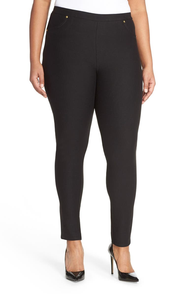 MICHAEL MICHAEL KORS Stretch Twill Leggings, Main, color, BLACK