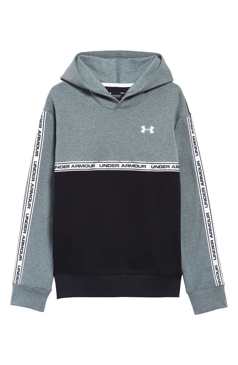 UNDER ARMOUR Sportstyle Pullover Fleece Hoodie, Main, color, PITCH GRAY / BLACK / WHITE