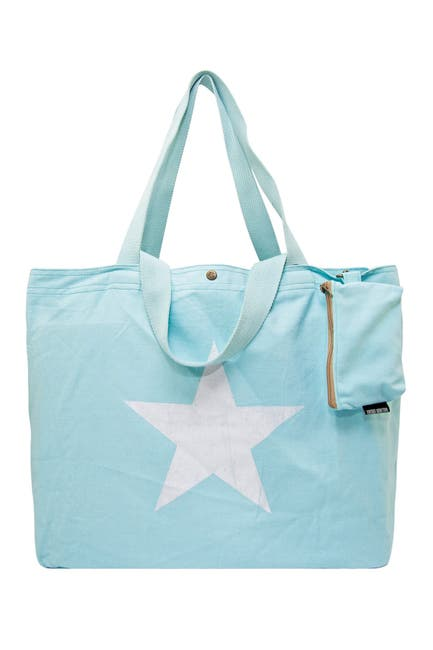 Image of Vintage Addiction Star Sky Blue Washed Canvas Bag with Coin Purse