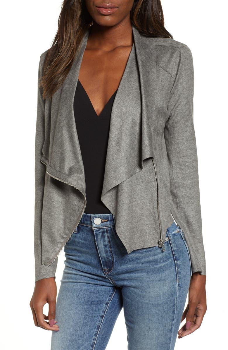 BLANKNYC Faux Suede Drape Jacket, Main, color, 020
