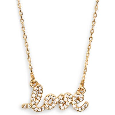 Kate Spade New York Say Yes Pave Love Mini Pendant Necklace