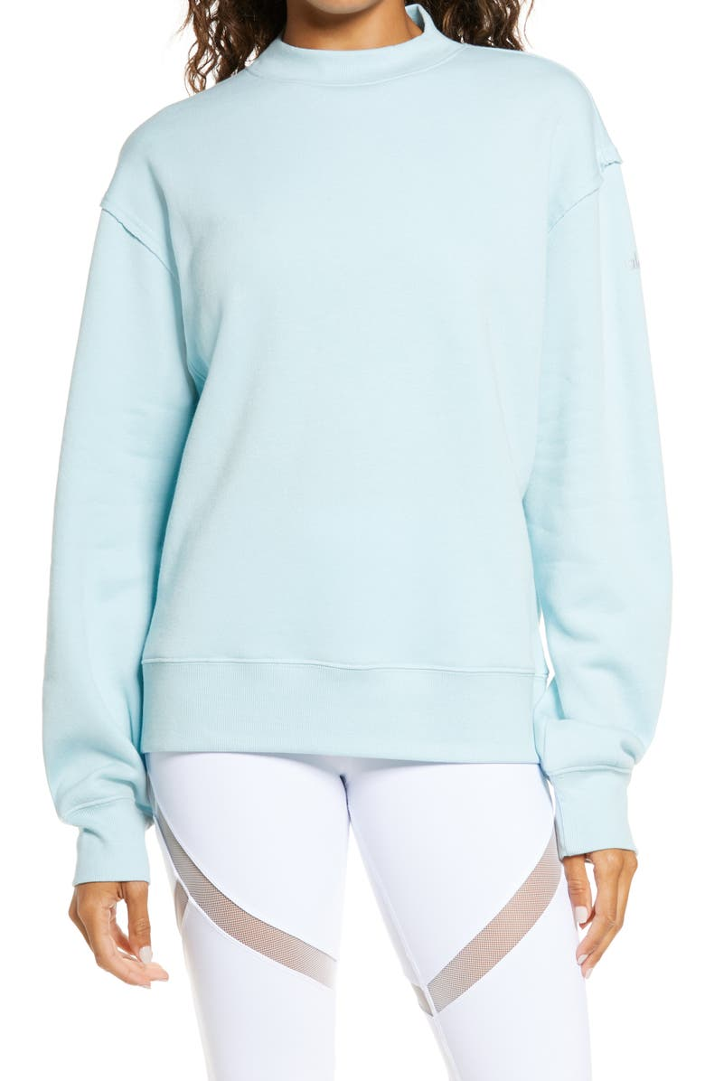 ALO Freestyle Mock Neck Sweatshirt, Main, color, GLASS BLUE HEATHER
