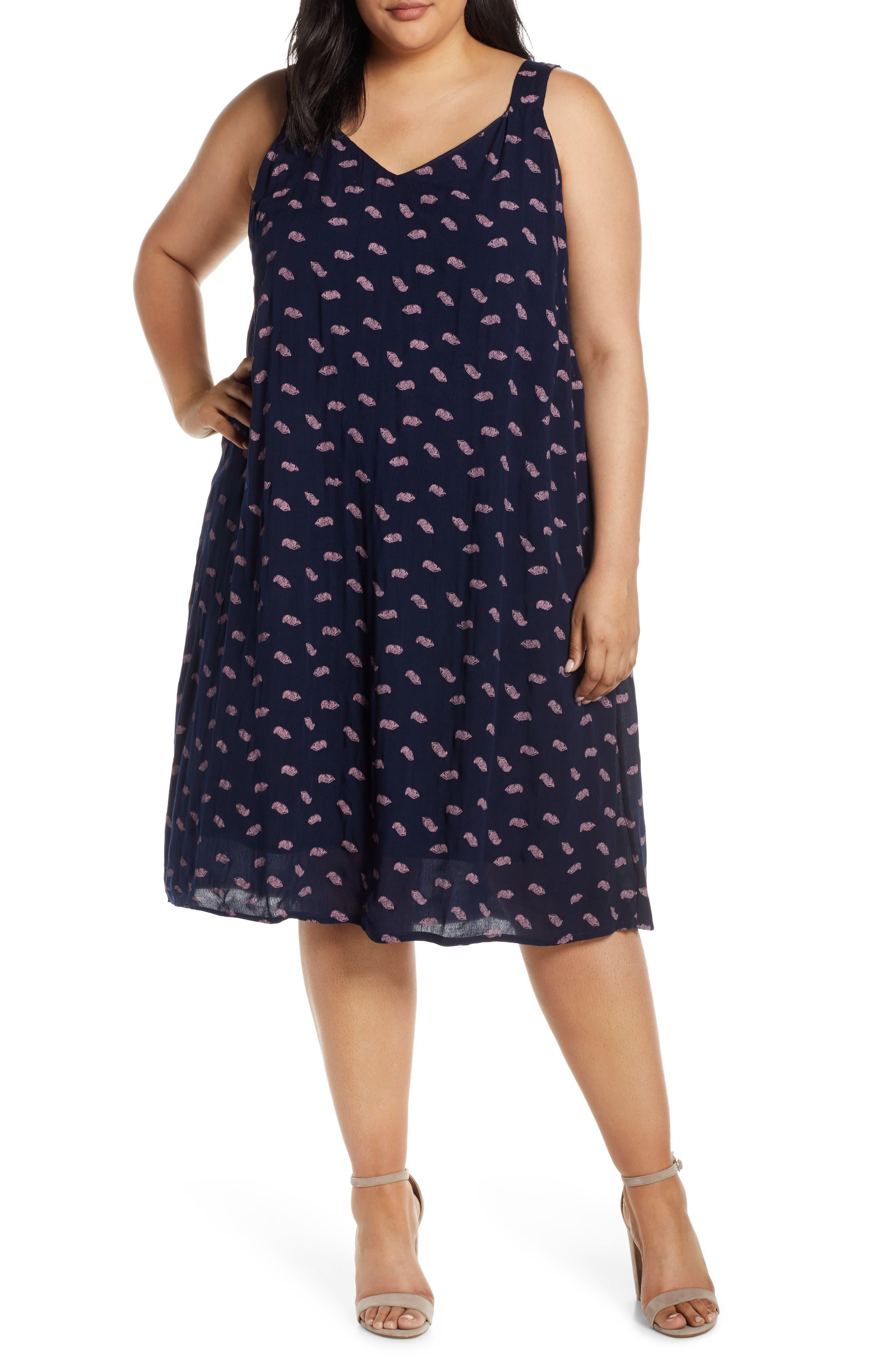 Plus Size Bobeau Print Sundress, Blue