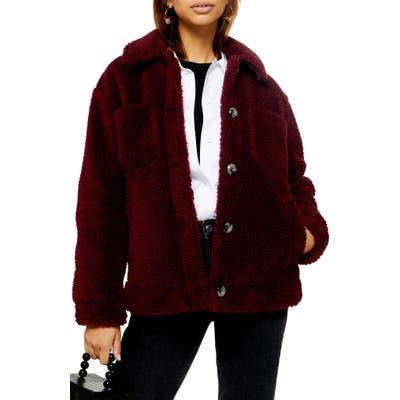 Topshop Fleece Jacket, Burgundy