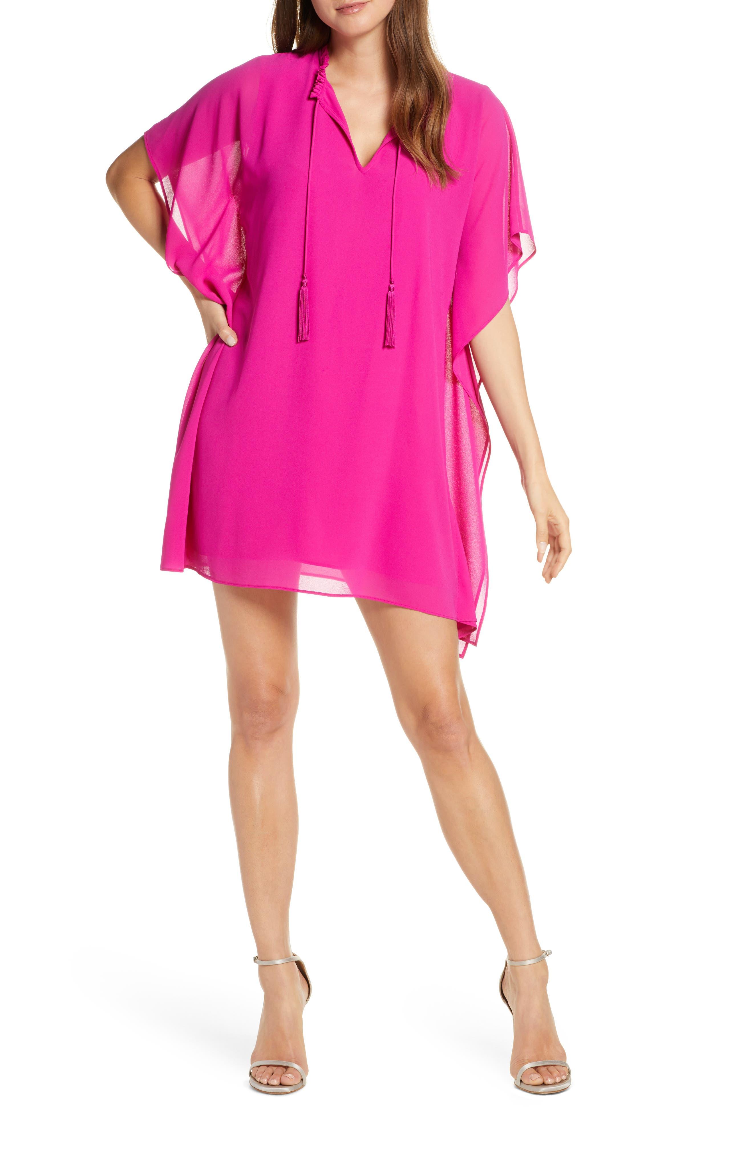 Mark + James By Badgley Mischka Split Neck Chiffon Caftan Minidress, Pink