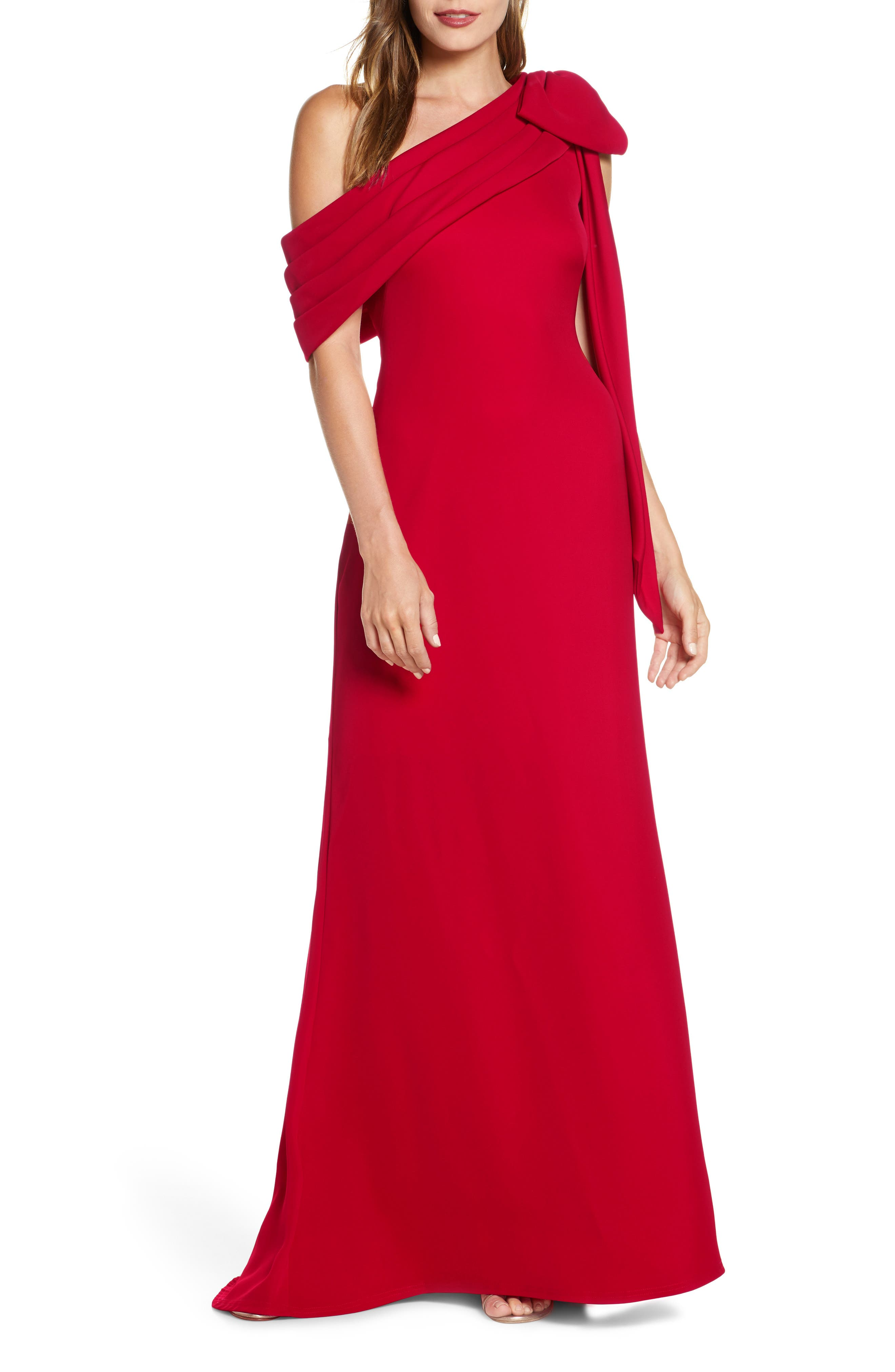 1950s Formal Dresses & Evening Gowns to Buy Womens Tadashi Shoji Crepe Gown Size 6 - Red $368.00 AT vintagedancer.com