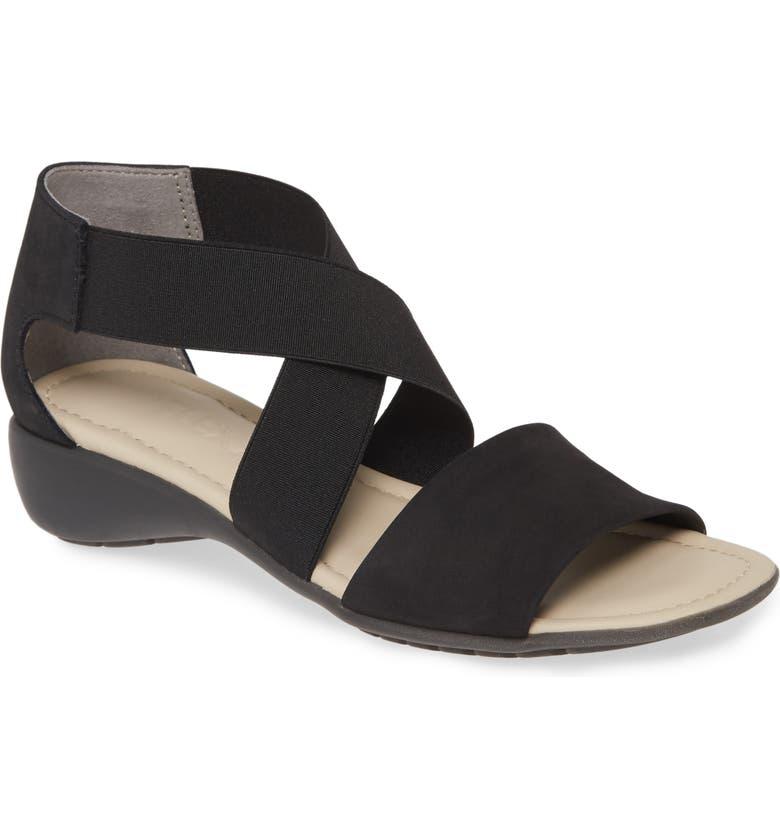 THE FLEXX Sunglass Too Sandal, Main, color, BLACK NUBUCK LEATHER