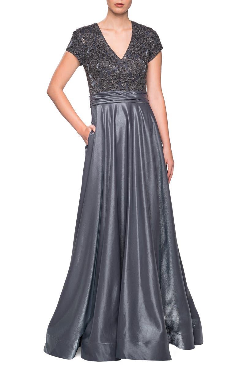 LA FEMME Two-Tone Satin A-Line Gown, Main, color, PLATINUM