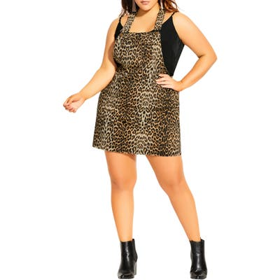 Plus Size City Chic Animal Flair Stretch Denim Pinafore Dress, Brown