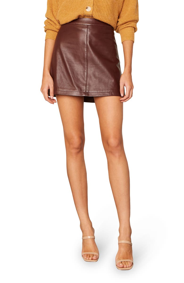 CUPCAKES AND CASHMERE Marrie Leather Miniskirt, Main, color, BITTER CHOCOLATE