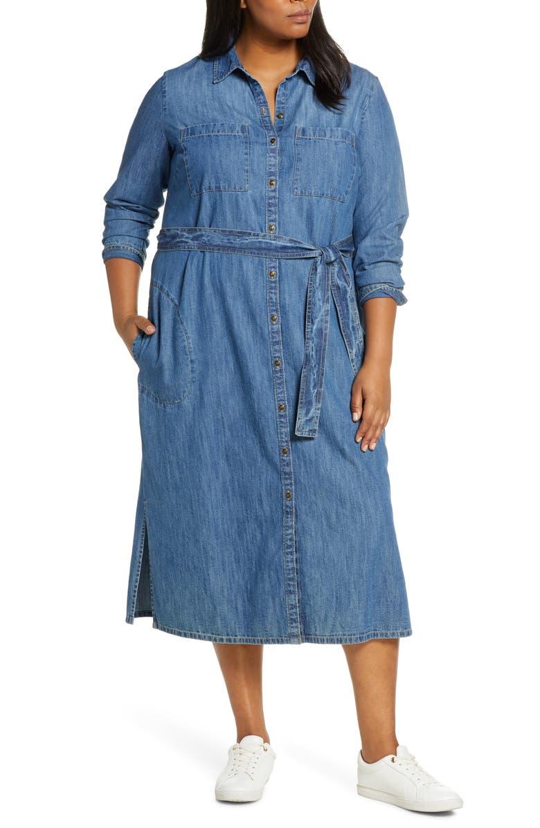 CASLON<SUP>®</SUP> Cotton Denim Shirtdress, Main, color, DARK MEDIUM WASH