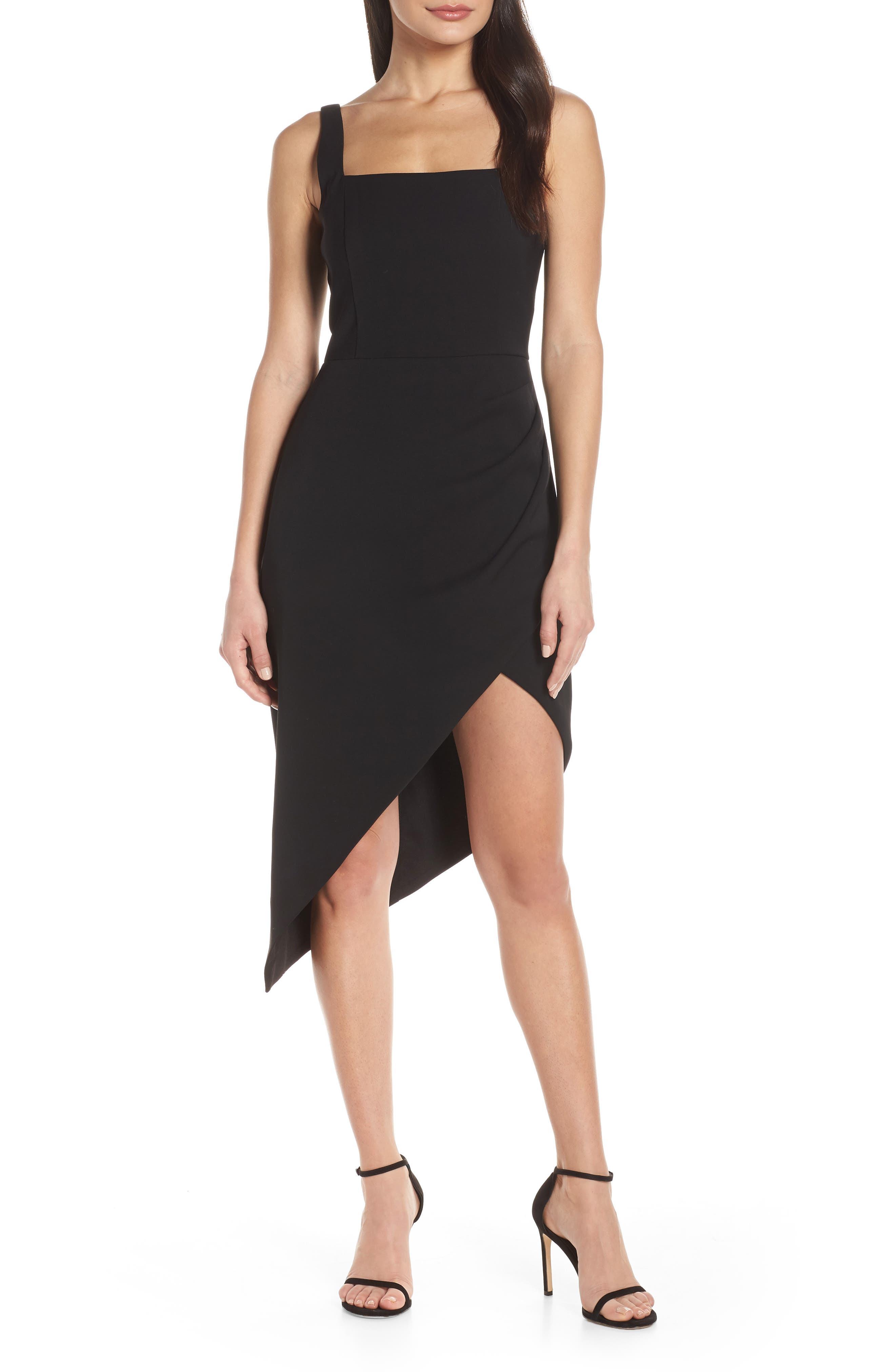 Harlyn Square Neck Asymmetrical Cocktail Dress, Black