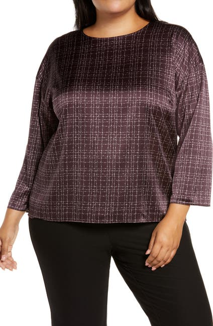 Image of Eileen Fisher Nep Check Stretch Silk Top