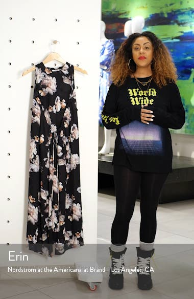 Peony Print Shirred Drawstring Midi Dress, sales video thumbnail