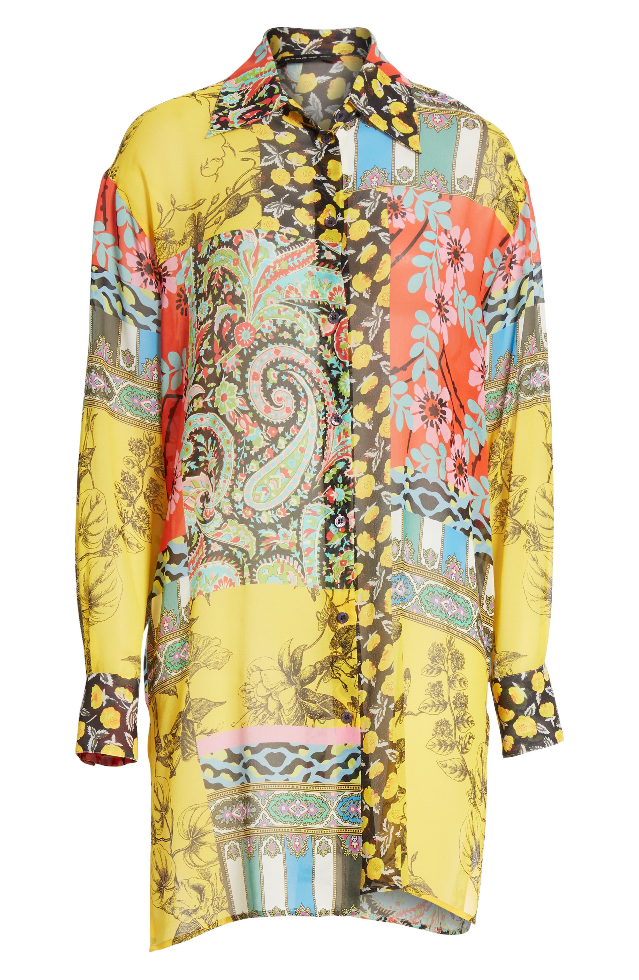 ,                             Patchwork Print Silk Tunic,                             Alternate thumbnail 6, color,                             YELLOW