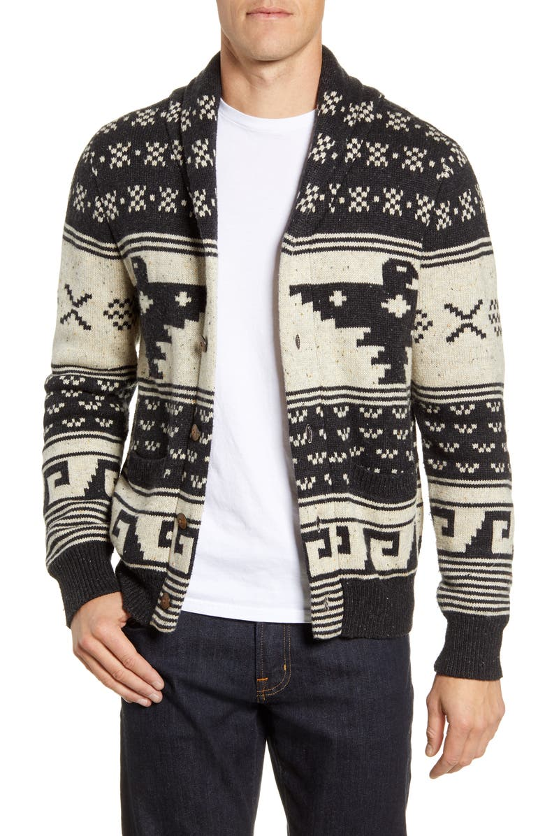 FAHERTY Brand Graphic Shawl Collar Cotton Blend Cardigan, Main, color, 001
