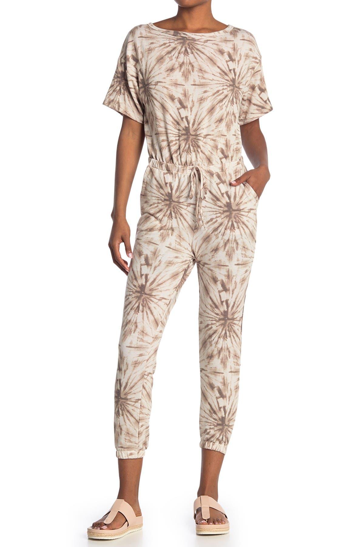 Image of Lush Short Sleeve Geometric Print Jumpsuit