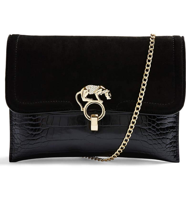 TOPSHOP Panther Clutch, Main, color, BLACK