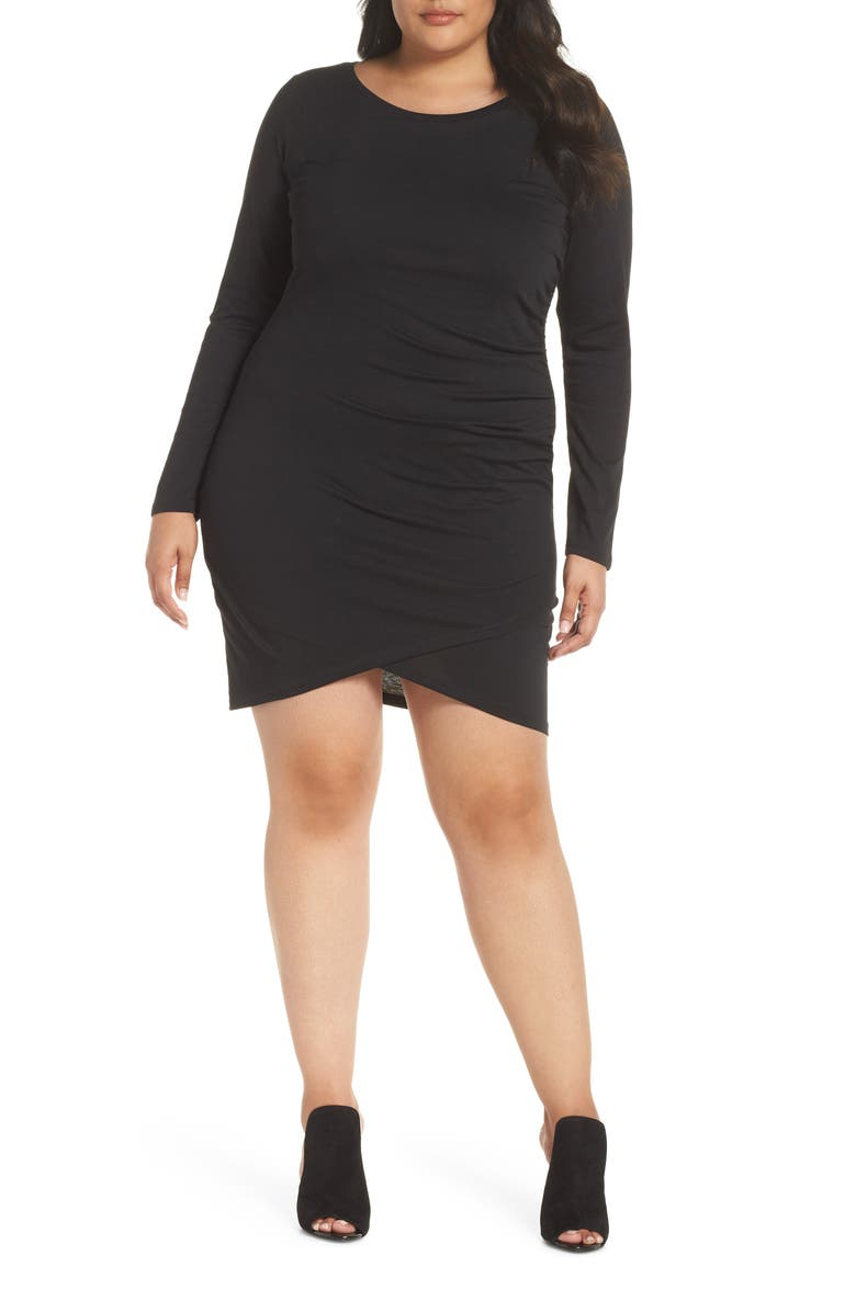LEITH Ruched Body-Con Dress, Main, color, BLACK