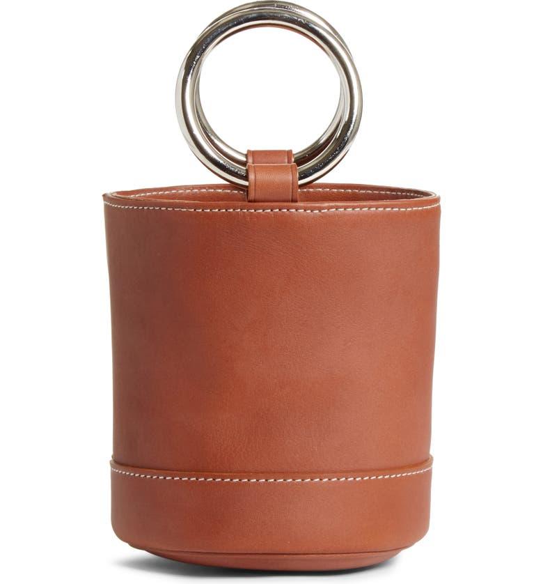 SIMON MILLER Bonsai 15 Calfskin Leather Bucket Bag, Main, color, DARK TAN