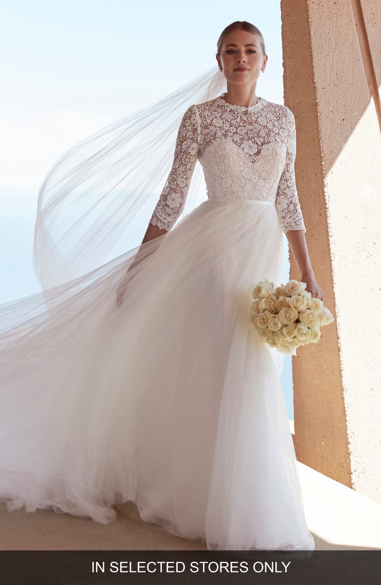 WATTERS Frederique Lace & Tulle Ballgown Wedding Dress, Main, color, IVORY/ NUDE
