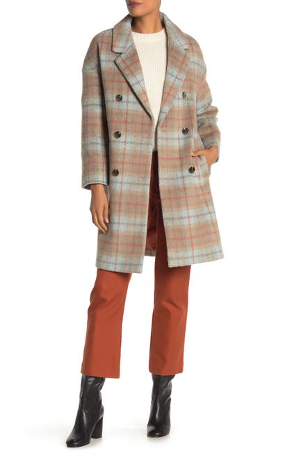Image of Andrew Marc Plaid Double Breasted Coat