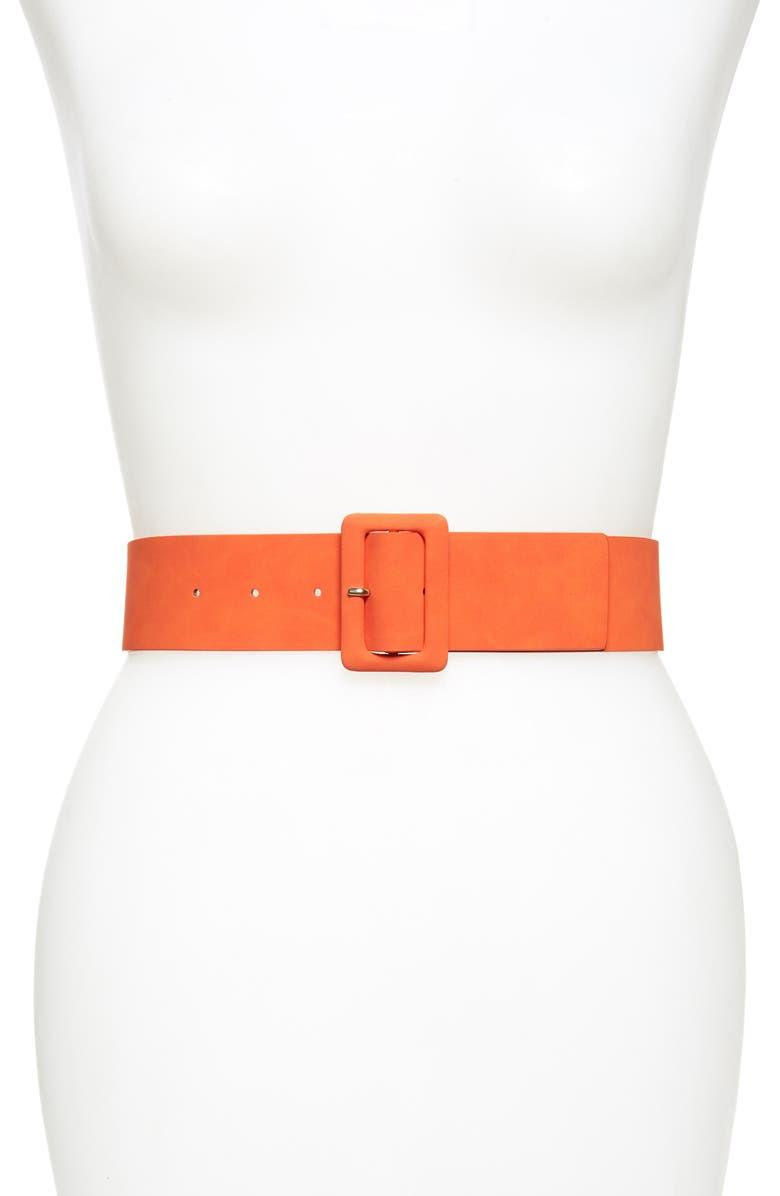 TROUVÉ Covered Buckle Faux Leather Belt, Main, color, ORANGE