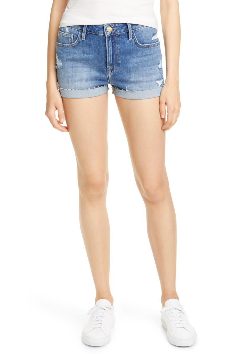 FRAME Le Grand Garcon High Waist Cuff Denim Shorts, Main, color, SHEAR