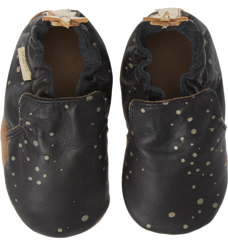 ROBEEZ<SUP>®</SUP> Galaxy Girl Moccasin Crib Shoe, Main, color, BLACK