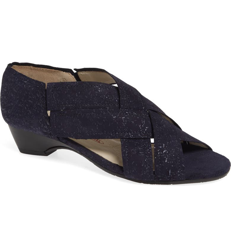 AMALFI BY RANGONI Desio Embossed Cross Strap Sandal, Main, color, NAVY LEATHER