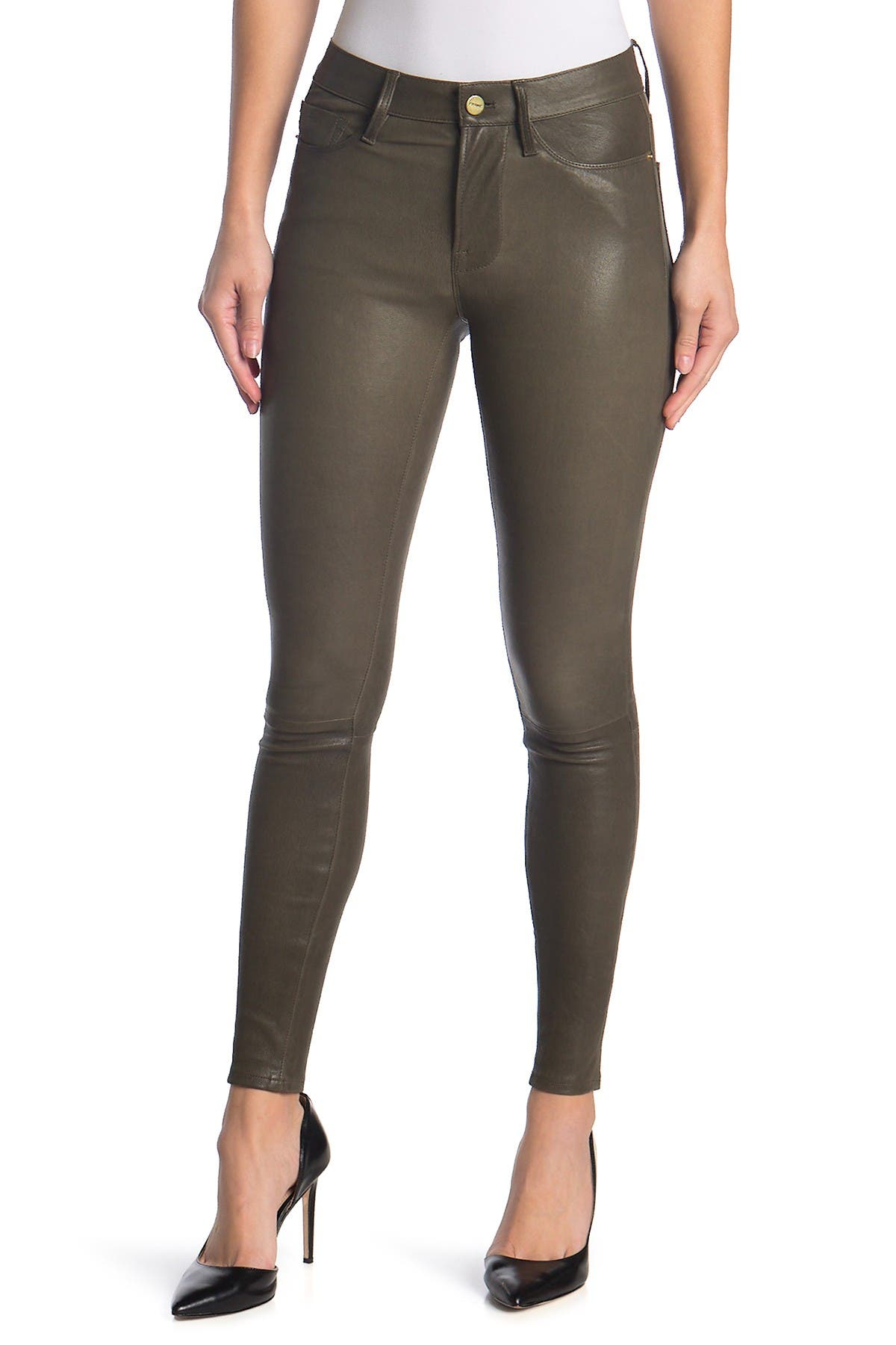 Image of FRAME Le High Leather Skinny Jeans