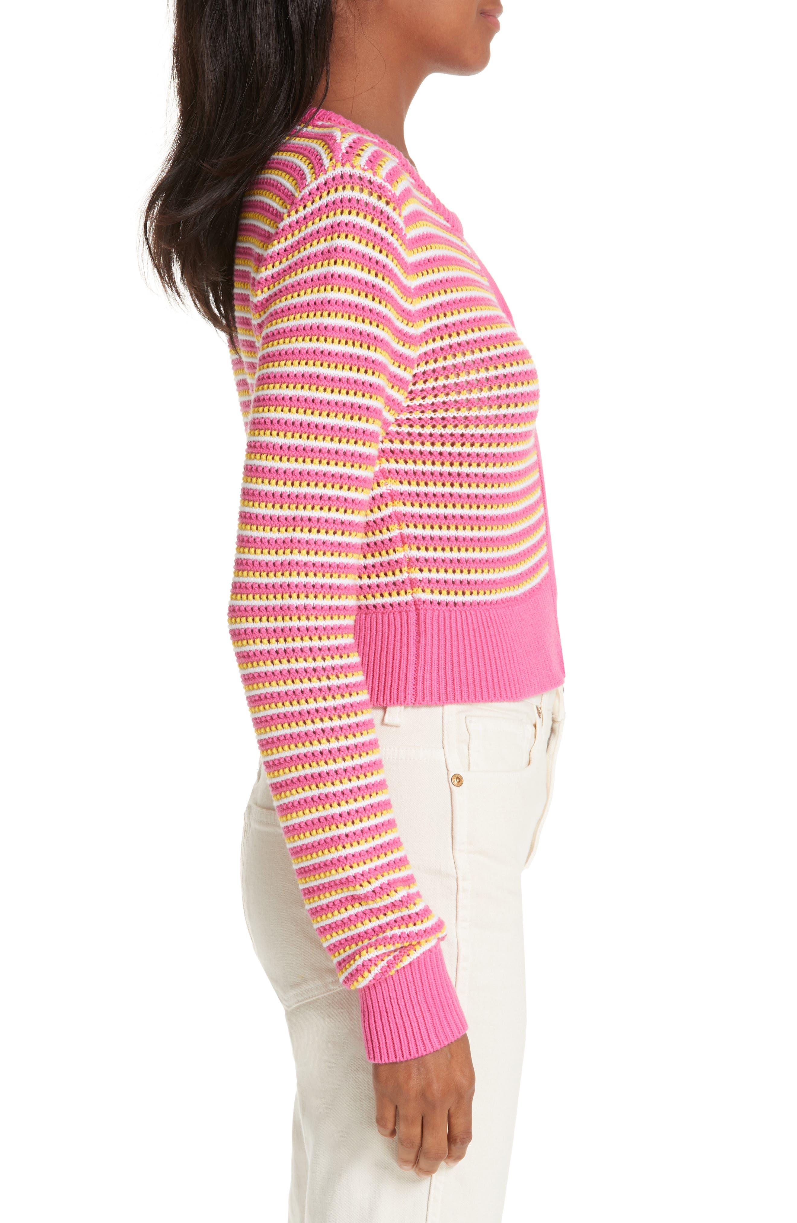 ,                             Stripe Cotton & Cashmere Button Cardigan,                             Alternate thumbnail 3, color,                             WHITE PINK COMBO