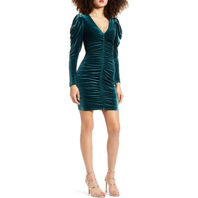 Leith Velour Ruched Long Sleeve Minidress, Green