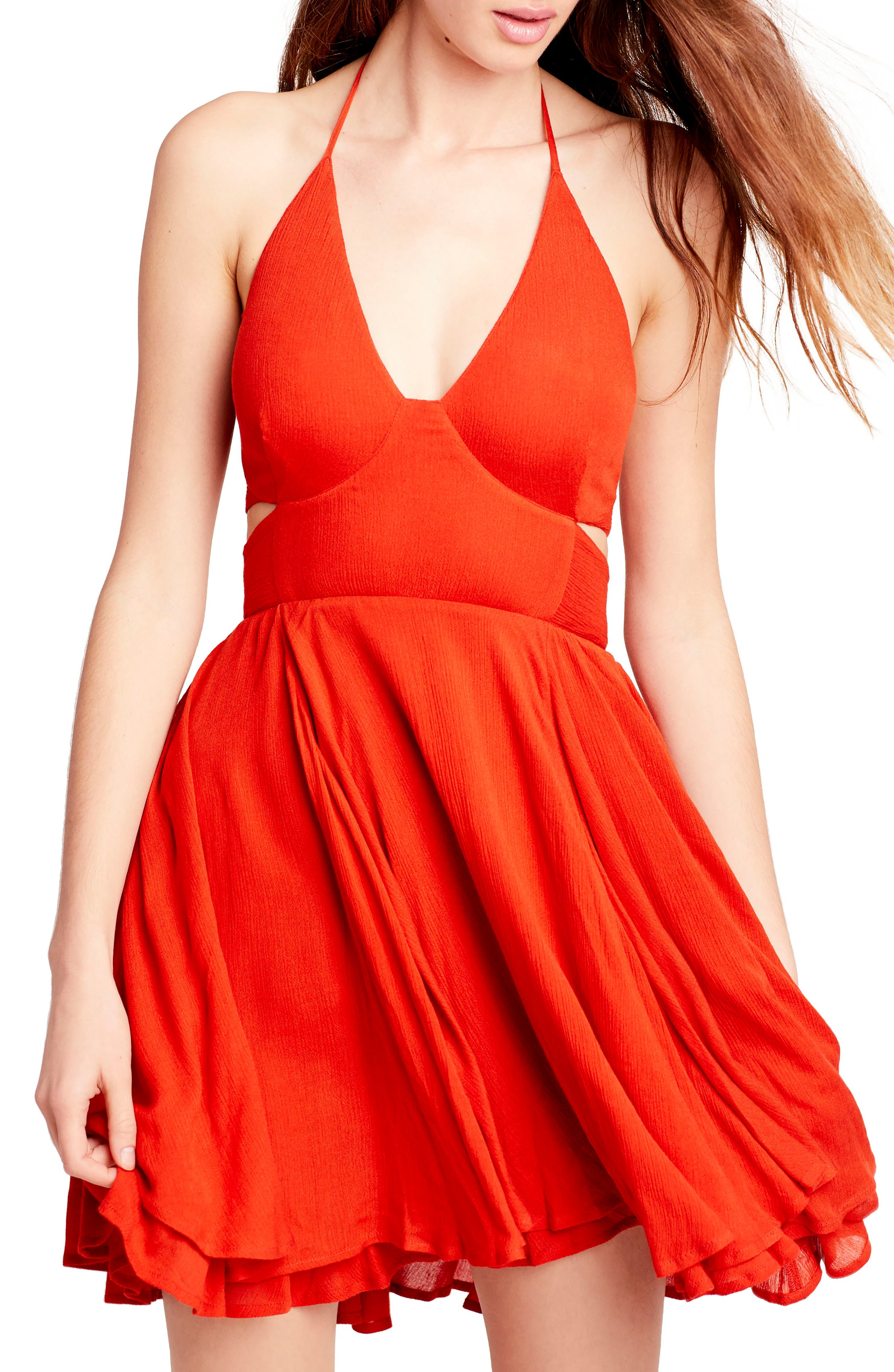 Endless Summer By Free People Lillie Halter Minidress, Red