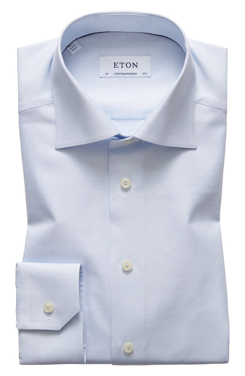 ETON Contemporary Fit Solid Dress Shirt, Main, color, BLUE