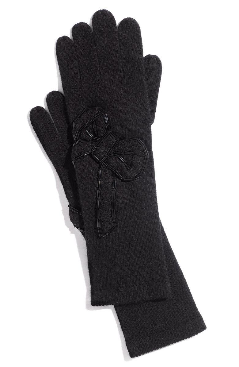 MILLY 'Belle du Jour' Beaded Gloves, Main, color, 001