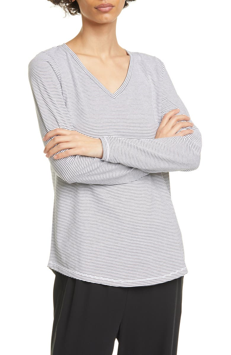 EILEEN FISHER Organic Cotton V-Neck T-Shirt, Main, color, WHITE/ BLACK