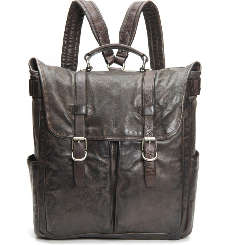 FRYE Murray Leather Backpack, Main, color, CARBON