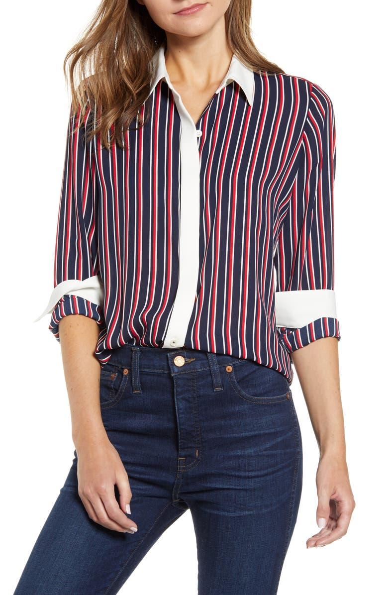 TOMMY HILFIGER Stripe Woven Shirt, Main, color, SKY CAPTAIN MULTI
