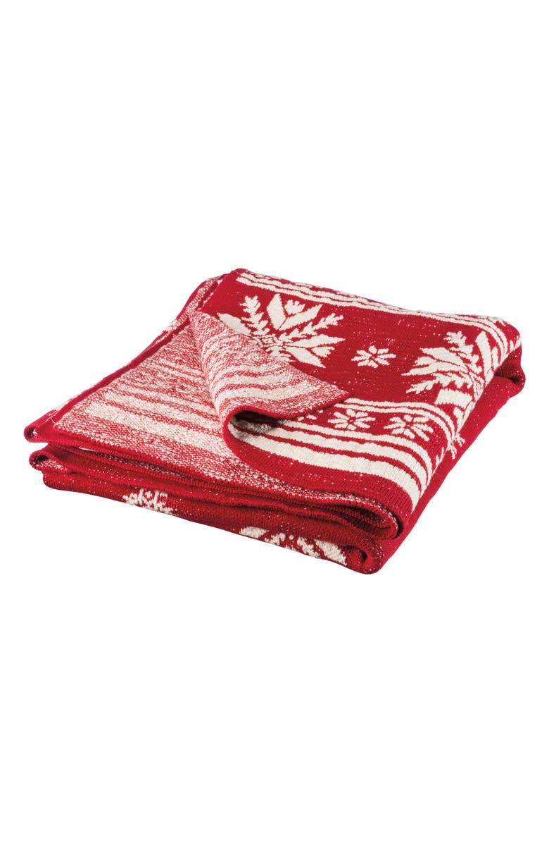 PRIMITIVES BY KATHY Nordic Snowflake Throw, Main, color, RED