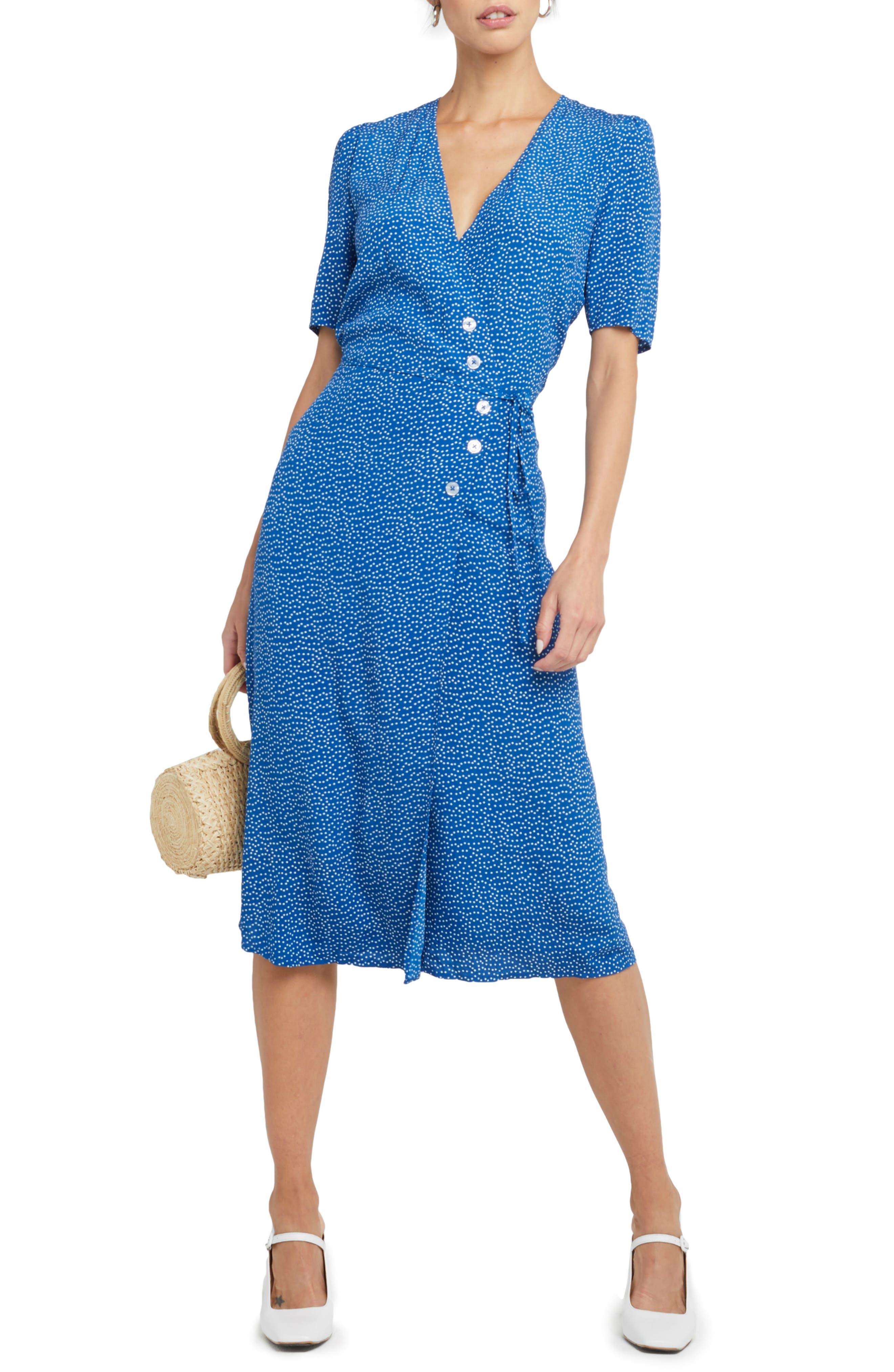 1930s Dresses | 30s Art Deco Dress Womens Kourt Misty Wrap Front Dot Midi Dress $138.00 AT vintagedancer.com