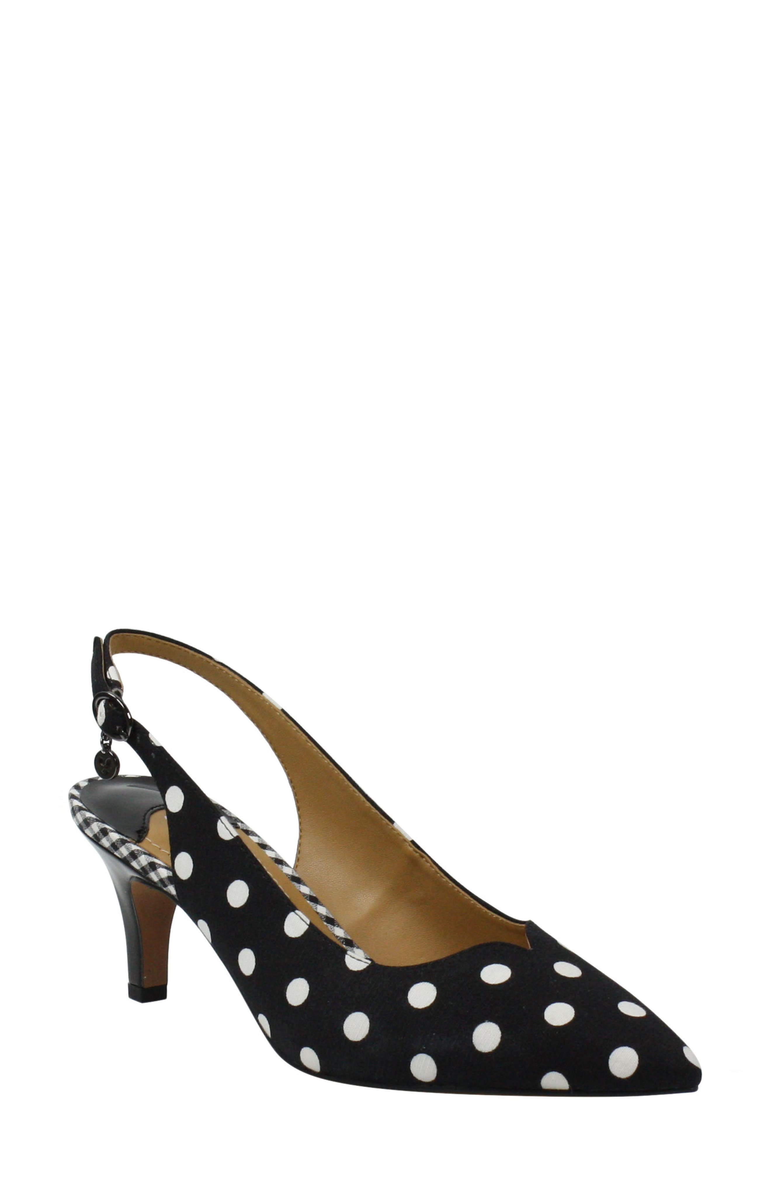 A tapered heel lifts a pointy-toe pump peppered in preppy polka dots and cushioned with a memory foam insole. Style Name:J.renee Envizyn Slingback Pump (Women). Style Number: 6018232. Available in stores.